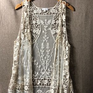 Charming Charlie Open Front Crochet Lace Coverup